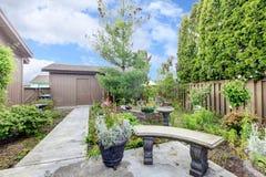 House exterior. Backyard porch and garden Stock Images