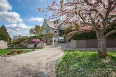 House exterior with blooming cherry tree Stock Photography