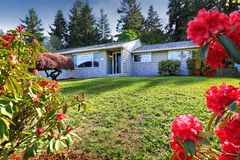 House exterior with blooming rhododendrons on front yard Stock Photo