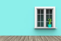 House exterior with blue wall and cactus in pot on white windows and wooden floor. Close up. 3d Illustration and rendering image Royalty Free Stock Photography