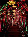 A house exterior with christmas lights decoration. A house exterior with beautiful and colorful lights decoration during christmas holiday in Torrington New stock photos