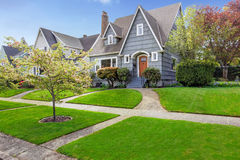 House exterior with curb appeal. House exterior. View of landscape on front yard Royalty Free Stock Photos