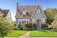 House exterior with curb appeal. House exterior. View of landscape on front yard Royalty Free Stock Photo