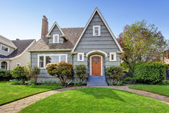 House exterior with curb appeal. House exterior. View of landscape on front yard Royalty Free Stock Photography