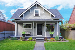 House exterior. Entrance porch and front yard view stock photos