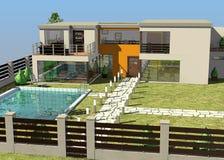 House exterior with garden Stock Photos