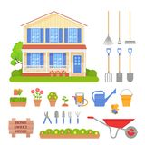 House exterior, garden tools set. Vector illustration. Garden tools set, house exterior. Vector. Front residential cottage with lawn, tree, bush. Home gardening vector illustration