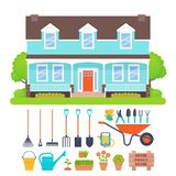 House exterior, garden tools set. Vector illustration. Suburb house exterior, garden tools. Vector. Gardening set. Residential cottage with lawn, tree, bush vector illustration