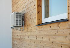 Free House Exterior Knotty Pine, Ceder Wood Wall Siding And Panel With Air Conditioner Outdoor Unit And Window Royalty Free Stock Image - 179475056