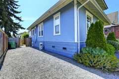 House exterior in light blue. Royalty Free Stock Photo
