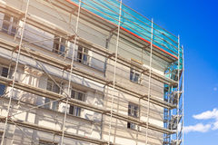 House exterior with scaffold Stock Image