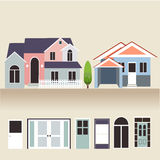House exterior set icons vector illustration Royalty Free Stock Photography