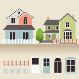 House exterior set icons vector illustration Royalty Free Stock Photo