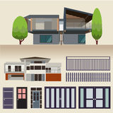 House exterior set icons vector illustration Royalty Free Stock Photos