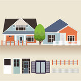 House exterior set icons vector illustration Stock Photography