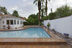 House Exterior with swimming pool royalty free stock photo