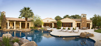 House Exterior with swimming pool stock photo