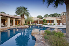 House Exterior with swimming pool stock photos