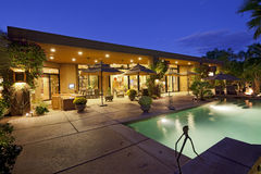 House Exterior with swimming pool stock photography