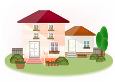 House exterior with trees, flowers, cute modern graphic. Vector illustration of real-estate concept Royalty Free Stock Photo