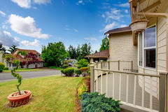 House exterior. View of deck and front yard Stock Photography