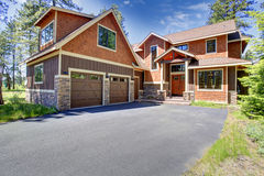 House exterior. View of garage and driveway Royalty Free Stock Image