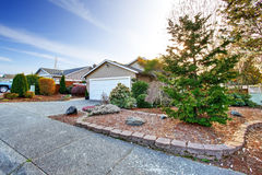 House exterior. View of garage and driveway Royalty Free Stock Photography