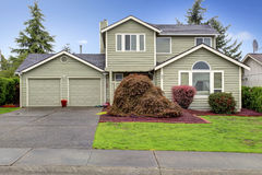House exterior. View of garage and driveway Royalty Free Stock Photo