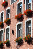 House facade in Aachen with flower decoration Stock Image