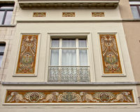 House facade with art nouveau decoration of paradise birds Royalty Free Stock Image