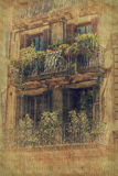 House facade in Barcelona. Vintage style. Balconies on the facade of a residential building in Barcelona, Catalonia, Spain Stock Images