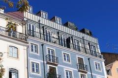 House facade with blue Azulejo tiles Royalty Free Stock Photo