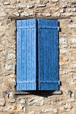 House facade with blue shutters in France Royalty Free Stock Images