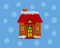 House with a facade decorated for Christmas. Royalty Free Stock Photography