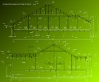 House facade on green background. Vector blueprint Stock Photography