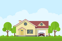House facade. Picture of a privat living house with garage and car, flat style illustration Royalty Free Stock Photo