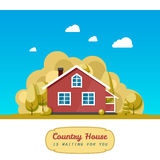 House facade. Traditional cottage. Vector Royalty Free Stock Images