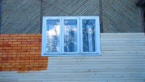 House facade under construction. New house facade under construction stock photos