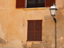 House facade. With windows, shutters and lantern Stock Photography