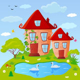 House fairy. Illustration of fairy houses with a lake on the edge Stock Images