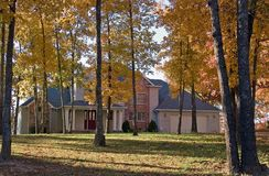 House in fall. A modern home set amongst some fall colored trees Royalty Free Stock Images