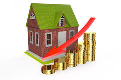 House fall in prices concept. On white background Stock Photo