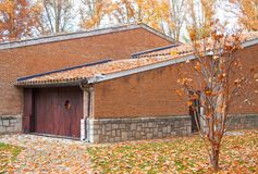 House with fallen leaves Royalty Free Stock Photos