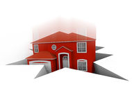 House Falling Into Hole. A red house falls into a hole, symbolizing foreclosure or bankruptcy Royalty Free Stock Image