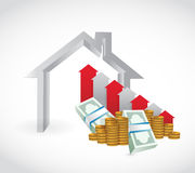 House and falling money graph. illustration Stock Photo