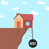 House falling off a cliff. Illustration of a house falling off a cliff under debt stock illustration