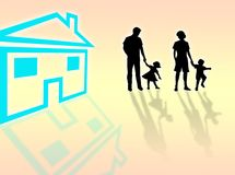 House for family. House for sale for this happy family vector illustration