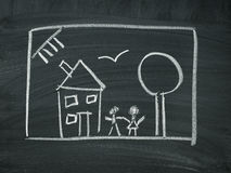 House family Chalk blackboard Stock Photos