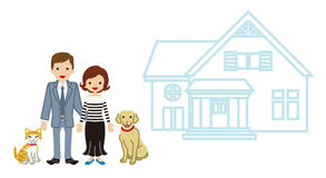 House and Family - Couple and pets Royalty Free Stock Photo