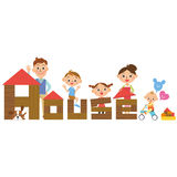 House and family Stock Images